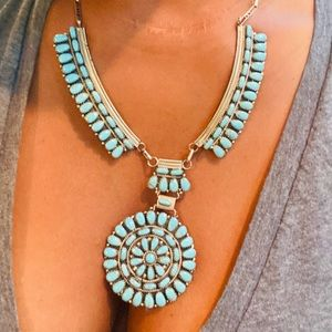 native American CW Cluster turquoise necklace